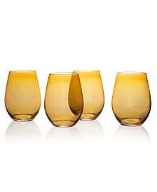 Jay Imports Amber Luster Stemless Goblets - Set of 4