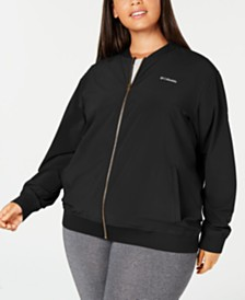 Columbia Plus Size Casual Full Zip Water-Repellent Bomber Jacket
