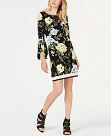 I.N.C. Printed Bell-Sleeve Sheath Dress, Created for Macy's