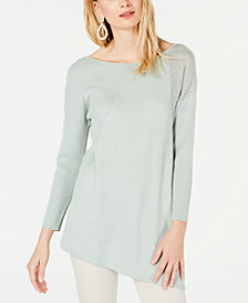 I.N.C. Petite Asymmetric Mixed-Knit Sweater, Created for Macy's