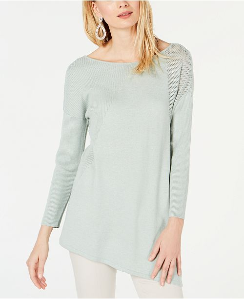 INC International Concepts I.N.C. Asymmetric Mixed-Knit Sweater, Created for Macy's