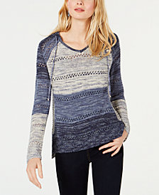 I.N.C. Open-Knit Hooded Sweater, Created for Macy's