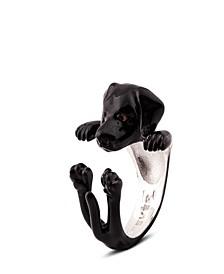 Black Labrador Retriever Hug Ring in Sterling Silver and Enamel
