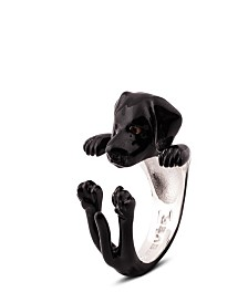 Black Labrador Retriever Hug Ring in Sterling Silver and Enamel