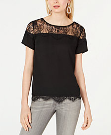 I.N.C. Woven-Lace Knit Top, Created for Macy's