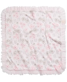 First Impressions Baby Girls Floral-Print Tulle-Trim Blanket, Created for Macy's