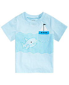 First Impressions Baby Boys Shark-Print T-Shirt, Created for Macy's