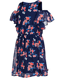 Tommy Hilfiger Big Girls Floral-Print Chiffon Dress