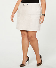I.N.C. Plus Size Faux-Suede Mini Skirt, Created for Macy's