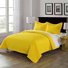 Lotus Home Diamond Stitch Full/Queen Quilt with Stain Resistant Microfiber