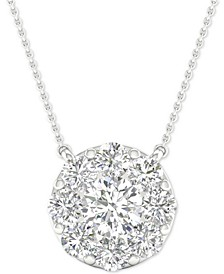 "Diamond Halo Pendant Necklace (1-1/2 ct. t.w.) in 14k White Gold, 16"" + 2"" extender"