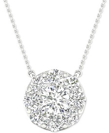 """Diamond Halo Pendant Necklace (1-1/2 ct. t.w.) in 14k White Gold, 16"""" + 2"""" extender"""