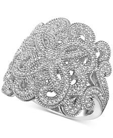 Diamond (3/8 ct. t.w.) Swirl Ring in Sterling Silver