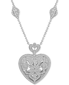 "Diamond (1/3 ct. t.w.) Heart 18"" Pendant Necklace in Sterling Silver"