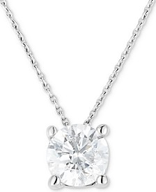 "Diamond (3/4 ct. t.w.) Solitaire 18"" Pendant Necklace in 14k White Gold"