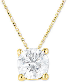 "Diamond Solitaire 18"" Pendant Necklace (1 ct. t.w.) in 14k Gold"