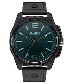 Men's Black Faux Leather Strap Watch 51mm