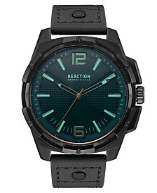 Kenneth Cole Reaction Men's Black Faux Leather Strap Watch 51mm