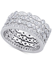 Arabella 4-Pc. Set Swarovski Zirconia Stackable Bands in Sterling Silver