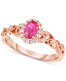 Certified Ruby (3/8 ct. t.w.) & Diamond (1/8 ct. t.w.) Ring in 14k Rose Gold