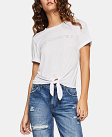 BCBGeneration Graphic-Print Tie-Front Top
