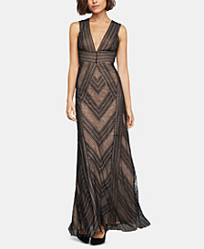 BCBGMAXAZRIA Embroidered Tulle Gown