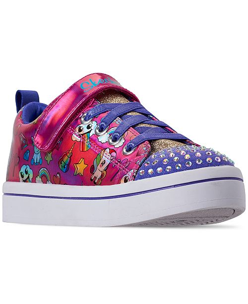 Skechers Little Girls' Twinkle Toes: Twi-Lites - Fancy Faces Adjustable Strap Casual Sneakers from Finish Line