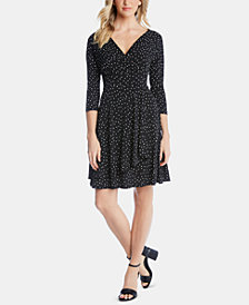 Karen Kane Printed 3/4-Sleeve Faux-Wrap Dress