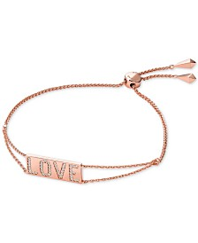 Michael Kors Rose Gold-Tone Sterling Silver Pavé Love Slider Bracelet