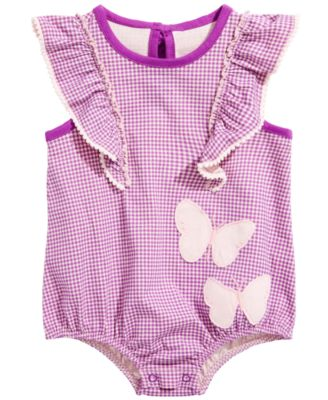 Image of First Impressions Baby Girls Cotton Ruffle Gingham Romper, Created for Macy's