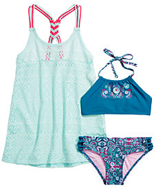 Summer Crush Big Girls Embroidered Bikini & Macrame-Back Swim Cover-Up