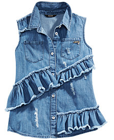 GUESS Big Girls Ruffle Distressed Cotton Denim Shirt