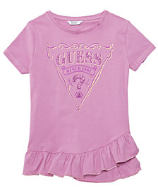 GUESS Big Girls Ruffle-Hem Logo T-Shirt
