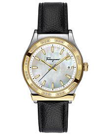 Ferragamo Women's Swiss 1898 Diamond (1/4 ct. t.w.) Black Leather Strap Watch 40mm