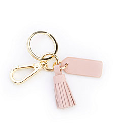 Royce New York Leather Mini Tassel Key Fob with Gold Hardware