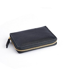 Pebbled Leather Zippered Credit Card Wallet