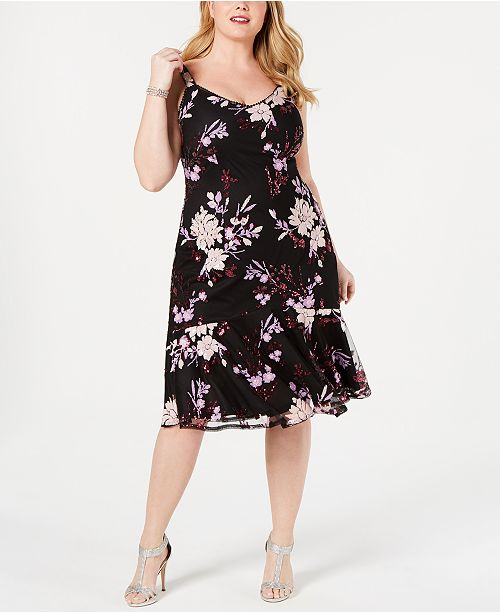 Adrianna Papell Plus Size Floral Sequin Dress