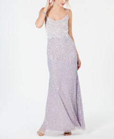 Adrianna Papell Beaded Cowl-Neck Gown