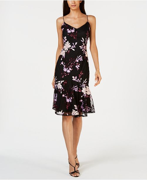 Adrianna Papell Petite Floral Sequin Sheath Dress