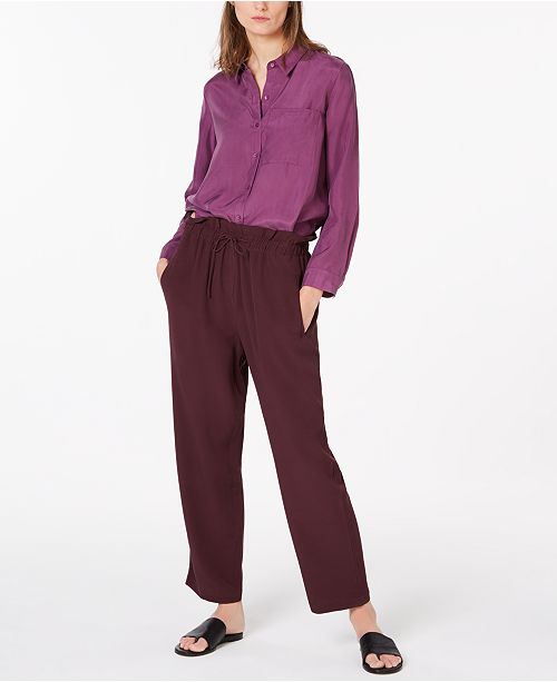 Eileen Fisher Collared Blouse & Paperbag-Waist Pants
