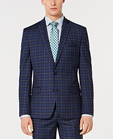 Men's Slim-Fit Stretch Dark Blue Plaid Suit Jacket, Created for Macy's