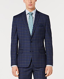 Bar III Men's Slim-Fit Stretch Dark Blue Plaid Suit Jacket, Created for Macy's