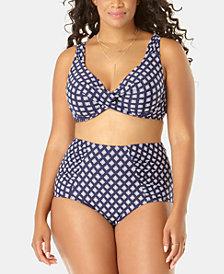 Anne Cole Eyelet-Print Bikini Top & High-Waist Bikini Bottoms