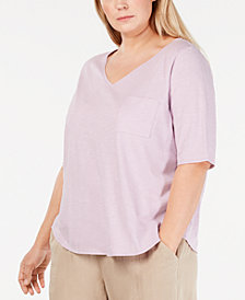 Eileen Fisher Plus Size Cotton V-Neck Top