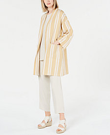 Eileen Fisher Organic Cotton Striped Kimono, Regular & Petite
