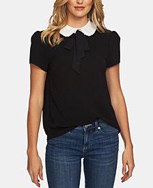 CeCe Tie-Neck Contrast-Collar Top