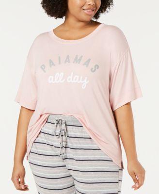 Plus-Size Ultra Soft Core Printed Short Sleeve Pajama Shirt