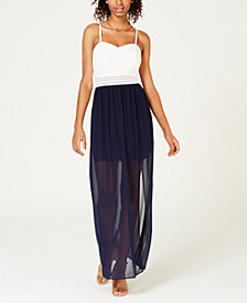 BCX Juniors' Adjustable Chiffon-Contrast Maxi Dress
