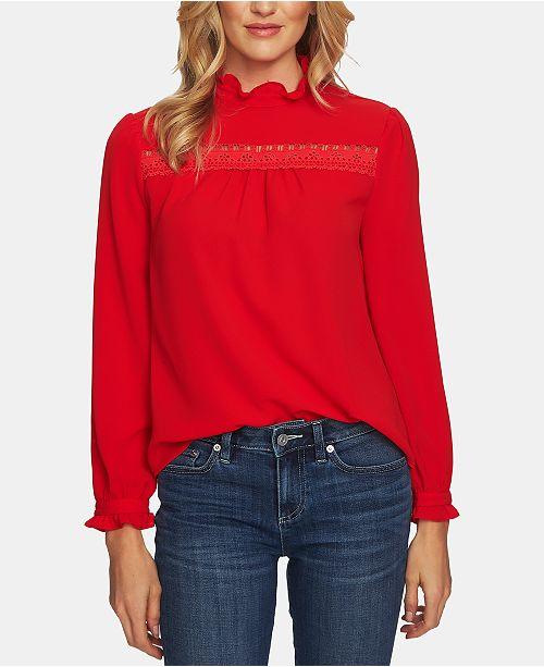 b10be88bff22bb CeCe Ruffled Crochet-Trim Top   Reviews - Tops - Women - Macy s