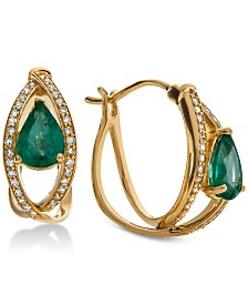 Emerald (1-3/8 ct. t.w.) & Diamond (1/4 ct. t.w.) Hoop Earrings in 14k Gold(Also Available in Tanzanite)